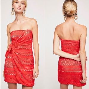 Free People Oceanside Red Knotted Mini Dress